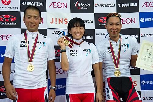 全日本MTB選手権 左から合田(U23),片山(女子),山本(男子エリート)