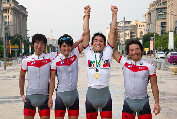 アジア選手権個人ロードU23(左から、雨宮、早川、木下、山本)
