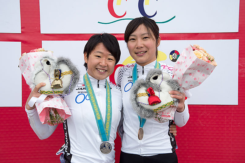 Asian Championships WJ road race silver Kajiwara, copper Sakaguchi